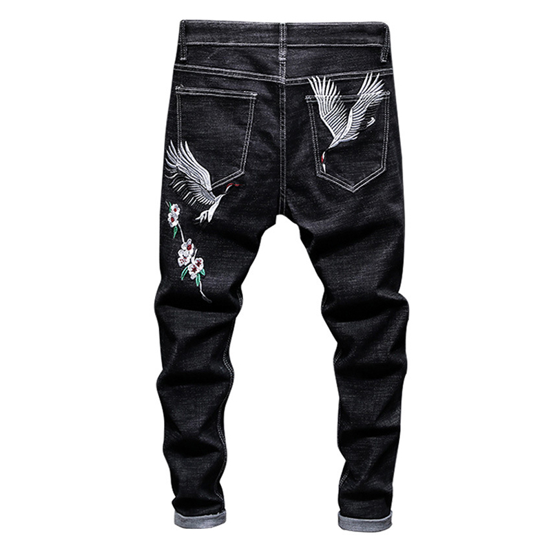 Sokotoo Men's Crane Embroidery Black Jeans Fashion Slim Stretch Denim Pencil Pants
