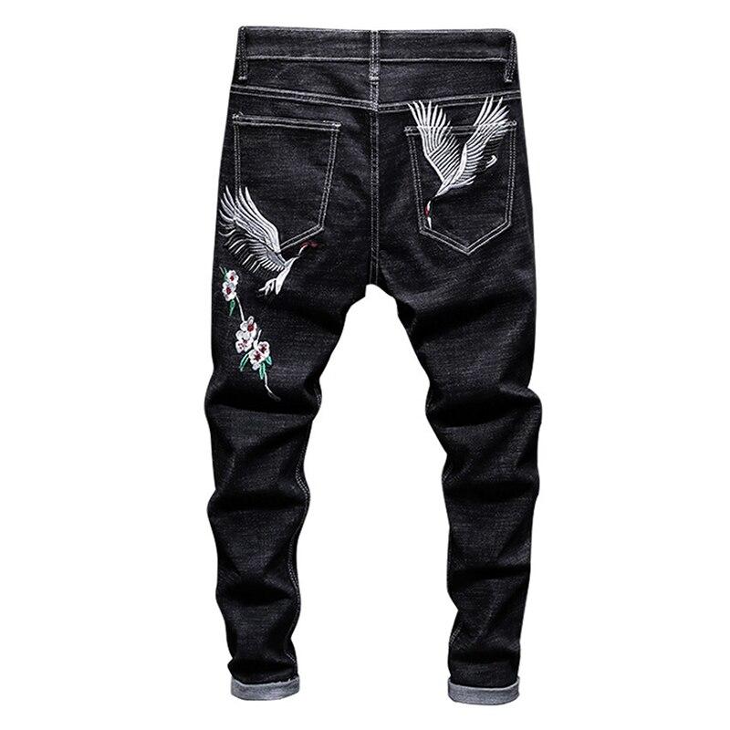 Sokotoo Men's Crane Embroidery Black Jeans Fashion Slim Stretch Denim Pencil Pants