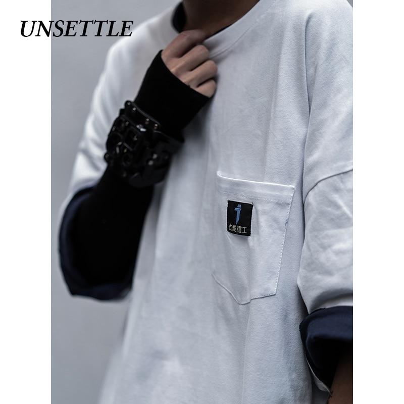 UNSETTLE 2020SS Men/Women Japanese Pocket Streetwear T-Shirts Mens Hip Hop Casual Short Tee Sleeve Tops Male Tshirts Oversize