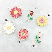 10 pçs esmalte flor charme sol flor encantos para fazer jóias moda charme brinco pingente esmalte encantos