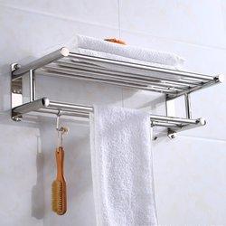 Waka suporte de toalha de banheiro de aço inoxidável wall-mounted toalheiro toalha de banho roupas organizador prateleira de armazenamento com 4 ganchos quente