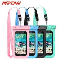 4pcs Mpow PA132 IPX8 กันน้ำโทรศัพท์กรณีกระเป๋า Universal Universal สำหรับโทรศัพท์มือถือขนาด 6.5 นิ้วปุ่ม Home Cutout Take ภาพใต้น้ำ