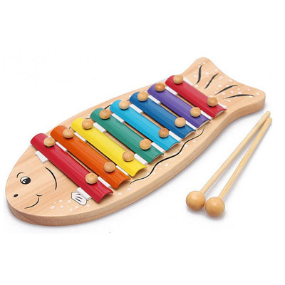 Manufacturers Direct Selling Wooden Cartoon Fish 8 Sound Children Music Steel Patches Knock Piano Baby Educational Toy Wholesale