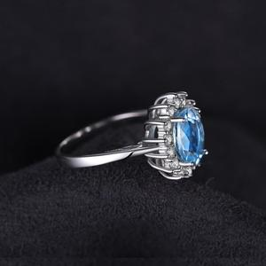 Image 3 - JPalace Princess Diana Genuine Blue Topaz Ring 925 Sterling Silver Rings for Women Engagement Ring Silver 925 Gemstones Jewelry