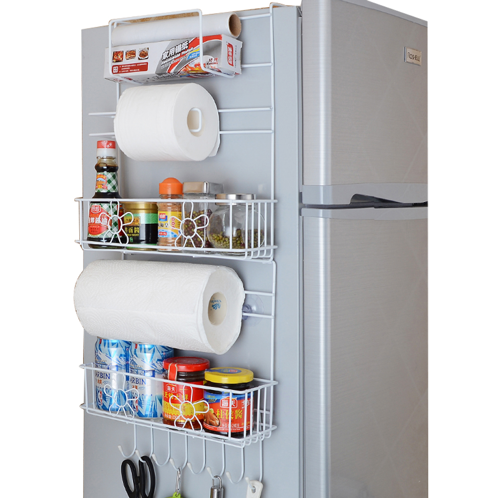 [A Generation Of Fat] Kitchen Supplies Refrigerator Rack Plastic Wrap Paper Towel Refrigerator Side Wall Storage Shelf