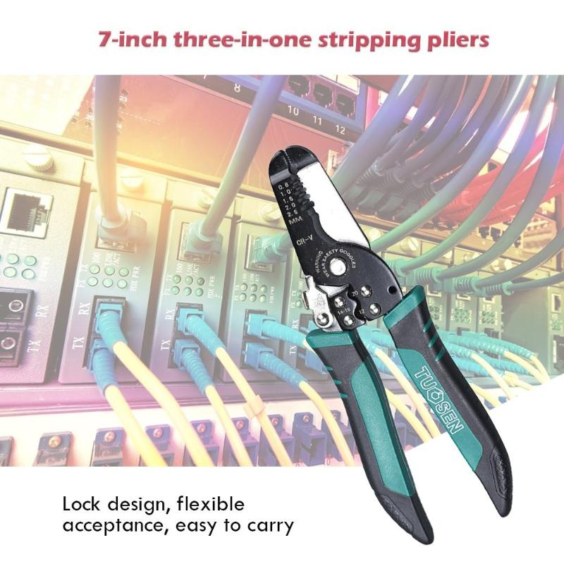 TUOSEN Spring Cable Stripping Scissors Wire Cutter Clamping Pliers Hand Tool Rust proof and Corrosion resistant - 4