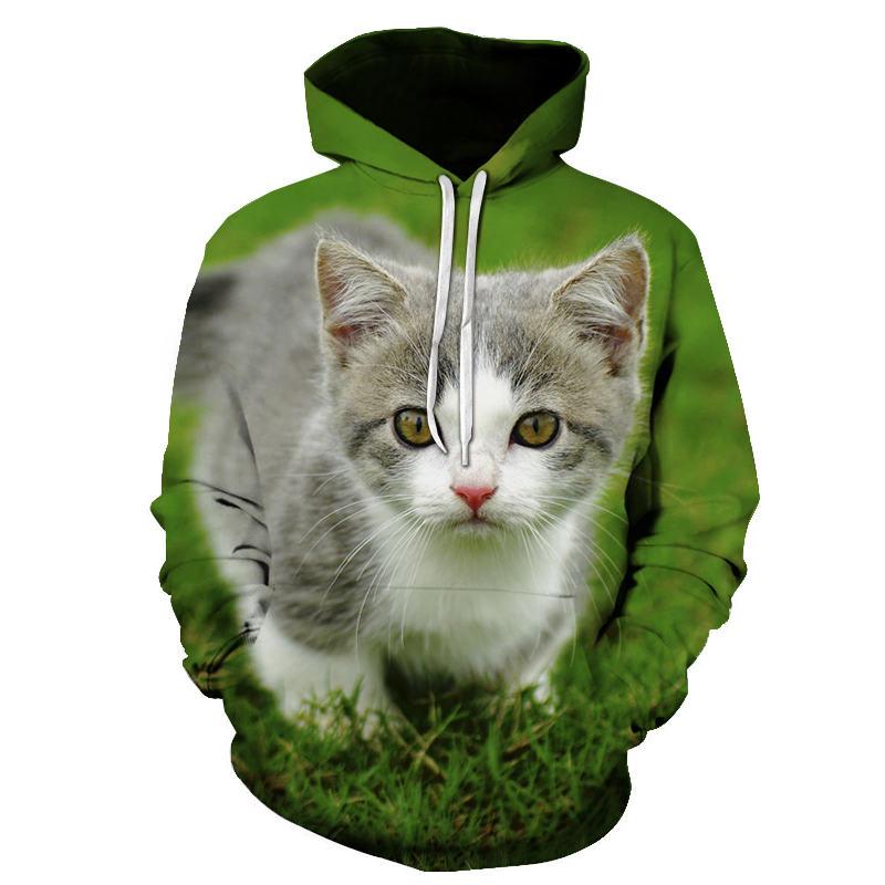 Women's Two Cat Sweatshirts Long Sleeve 3D Hoodies Sweatshirt Pullover Tops Blouse Pullover Hoodie Poleron mujer Confidante Tops 103