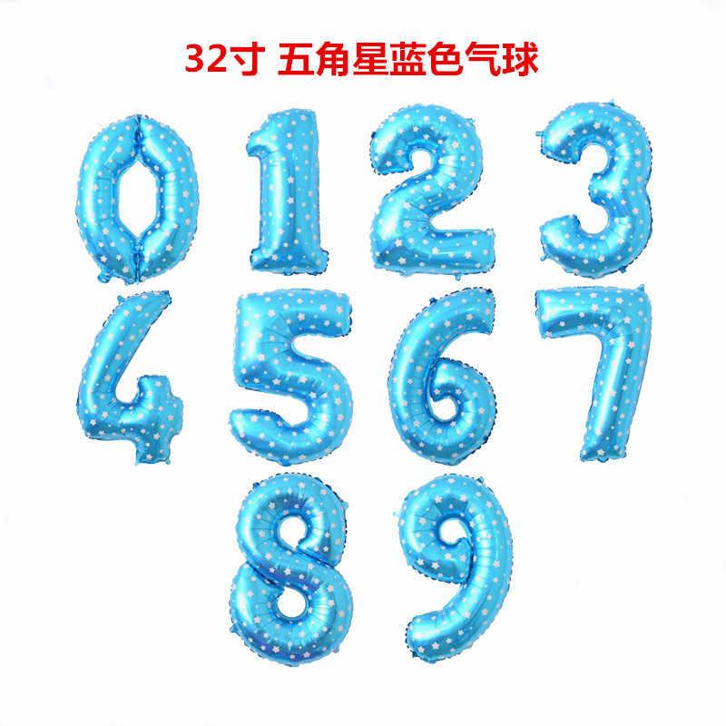 32-Polegada impresso azul em pó com números de alumínio filme balão bebê cem dias aniversário festa de aniversário decorativo médio wi