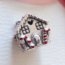 Winter Gingerbread House Charm 925 Sterling Silver Sweet Home Heart Charms Beads Fit Bracelets DIY Women Christmas Gift Jewelry(China)