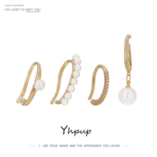 Clip-Earring-Set Jewelry Pearls Gold Simulated Gift Yhpup Women Geometric for Metal Non-Piercing