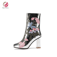 Original Intention Embroidered Mirrored Silver Ankle Boots Woman Transparent Crystal Square Heels Warm Winter Boots Shoes Woman