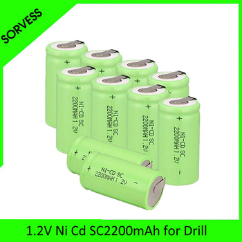 SORVESS 1-20PCS SC 1.2V 2200MAH Rechargeable Battery 4/5 SC Sub C Ni-cd Cell with Welding Tabs for Electric Drill Screwdriver image