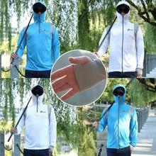 Queshark Men Fishing Clothing Quick Dry Long Sleeve Breathable Fishing Shirts Anti UV Hooded Cycling Hiking Fishing Jackets