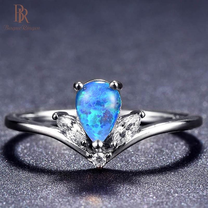 Bague Ringen 925 silver jewelry rings with blue wate drop opal gemstone silver Rings For Women Fine Jewelry Size 6-10 wholesale