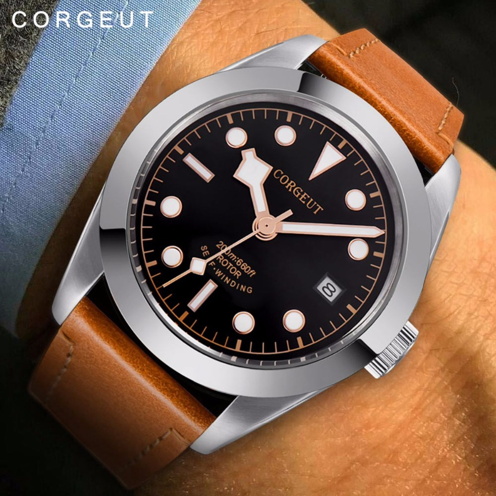 Corgeut Men Automatic Mechanical Watch Luxury top brand  sport clock Fashion &Casual Brand Leather Man Self-Wind Watches 2016A