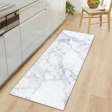 Black White Marble Printed Floor Mat  Anti Slip Kitchen Carpet
