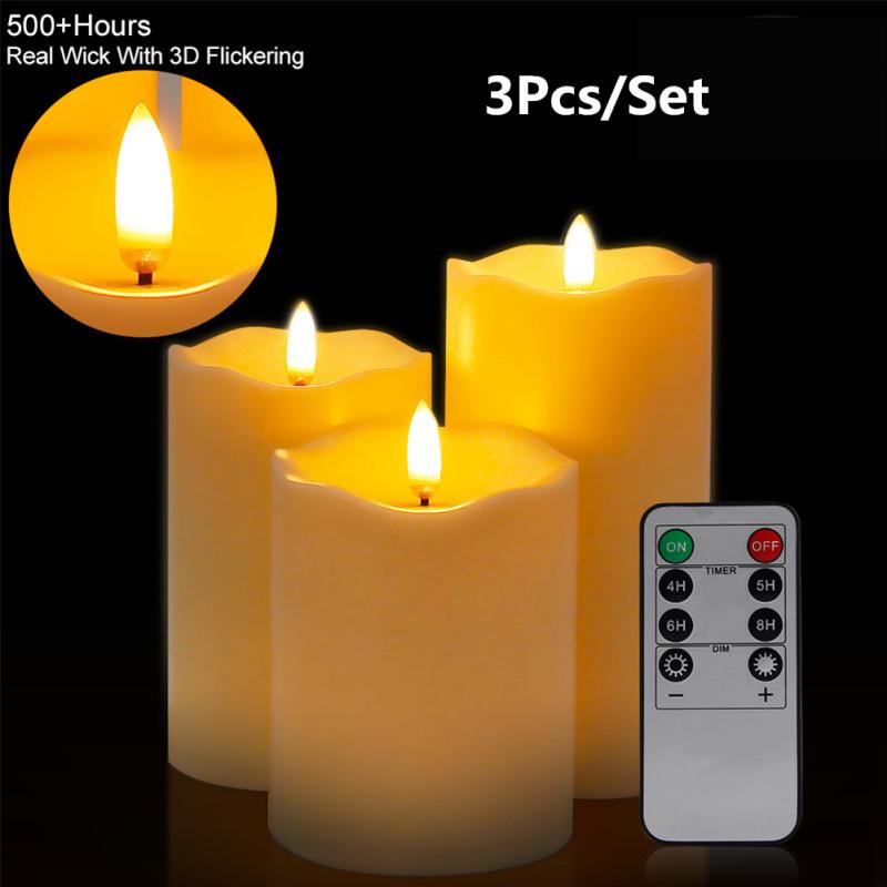 3Pcs/Set Flameless Candle Shape Lamp With Remote Control Warm Yellow Light Night Light Home Party Birthday Decor