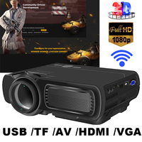 T5 Android 4.4 HD red and blue 3D giant screen home LED projector with WIFI support wireless WIFI same frequency + Bluetooth