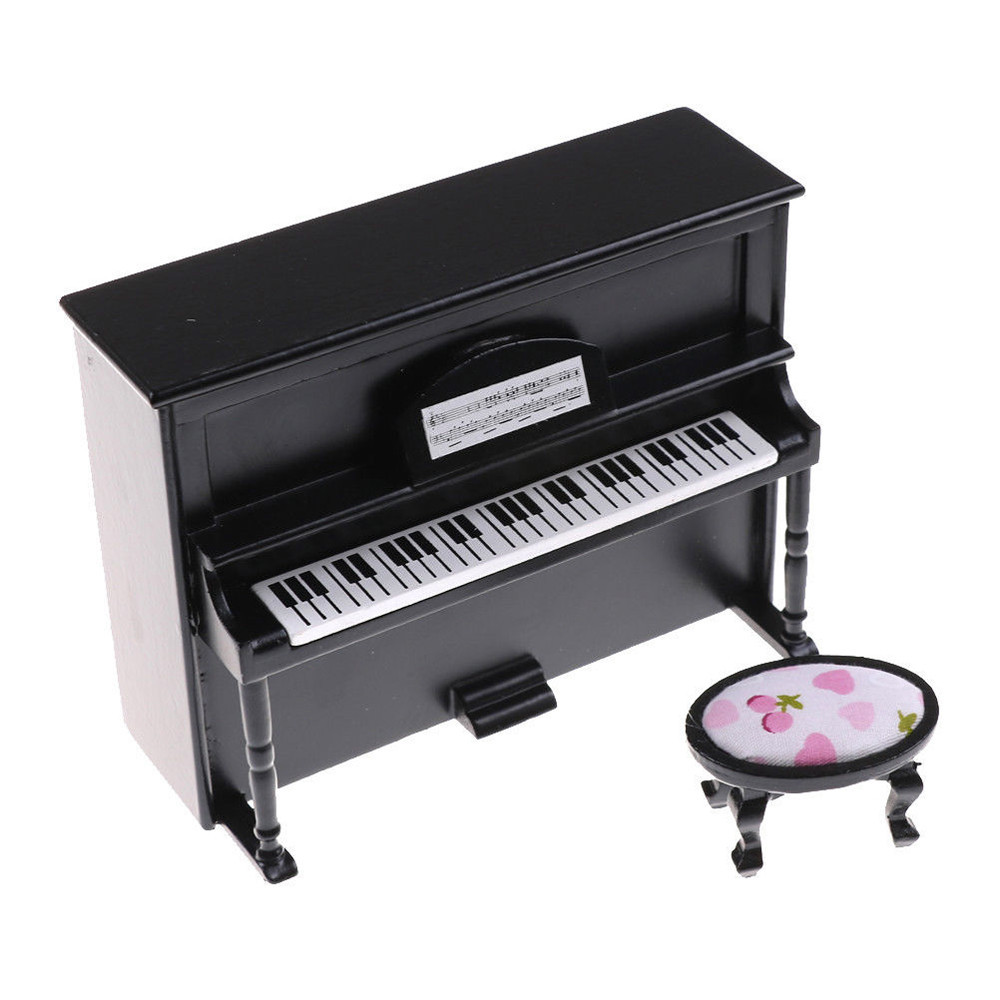 1:12 Dollhouse Miniature Black Wooden Grand Piano with Stool Model Play Toys WA