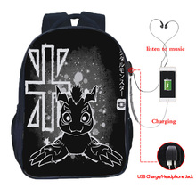 Digimon Adventure Multifunction USB Charging Outdoor Travel Backpack Laptop Suitable for Junior Student