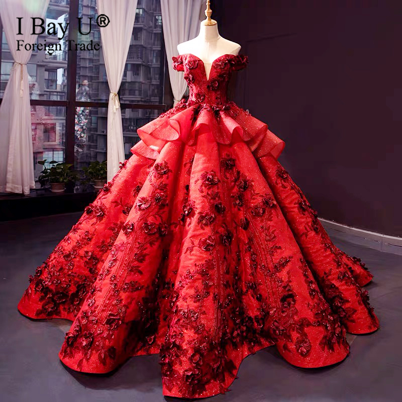 Wine Red 3D Flower Wedding Dress Puffy Ball Gowns For Princess Pretty Lace Bridal Gowns Vestido De Noiva Dubai Wedding Dresses