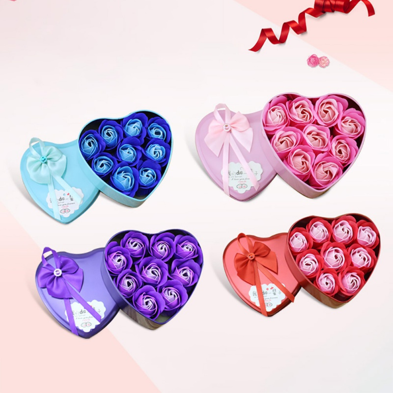 2020 Valentine\'s Day Gifts For Girls Soap Flower Artificial Heart-shaped Box Creative Home Decoration Wedding