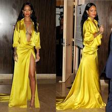 Vestidos de noche con cuello en V profundo a la moda de color amarillo Rihanna Grammy de manga larga con abertura lateral y alfombra roja para graduación de celebridades