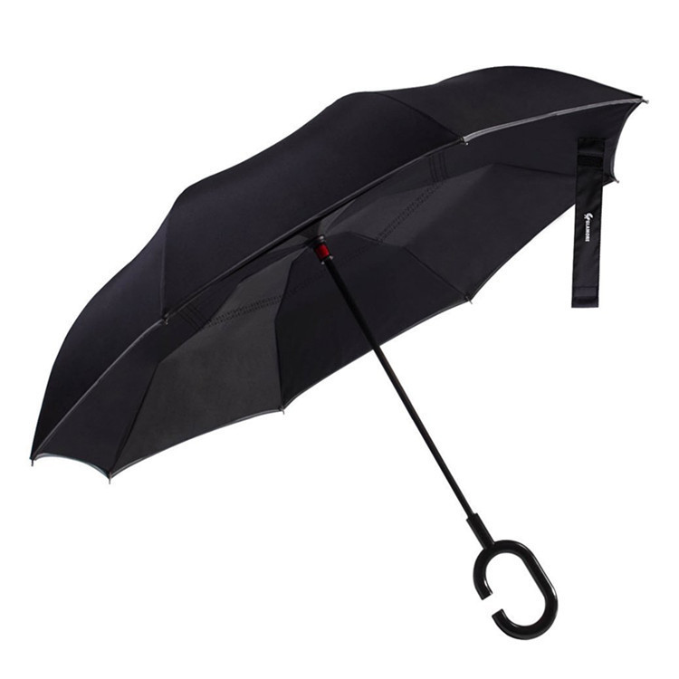 A Generation Of Fat Car Reverse Umbrella Safe Warning Umbrella Night Vision Reflective Umbrella Double Layer Hands-Free C Type-S