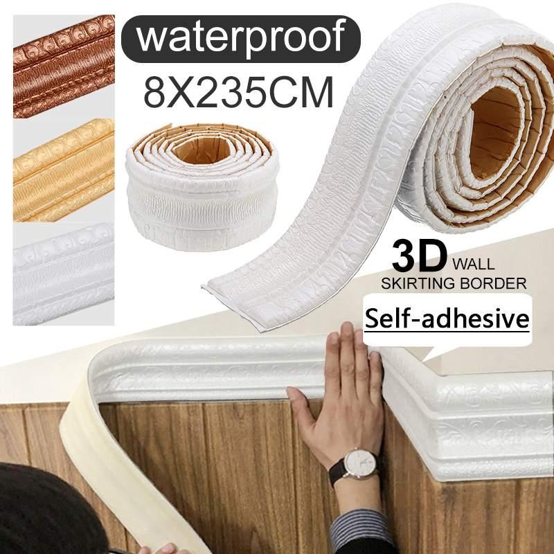 Modern 3D Brick Wall Sticker Wallpaper Border Decor Foam Waterproof Wall Covering Kids Living Room Foam Waistline Sticker Border