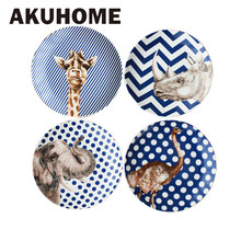 Creative Ceramic Plate Sets with Animal Deer African Grassland Print Tableware Porcelain Cake Dinner Plate Sets Dessert Tray