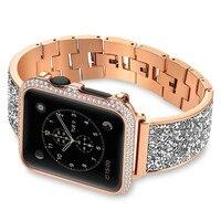 Rhinestone Diamond Stainless Steel Loop strap For apple watch band 44mm 40mm Metal Bracelet For iwatch Series 4/3/2/1 38mm 42mm