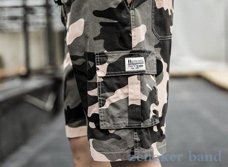 seção fina plus size 9xl 8xl casual camuflagem shorts multi-bolso