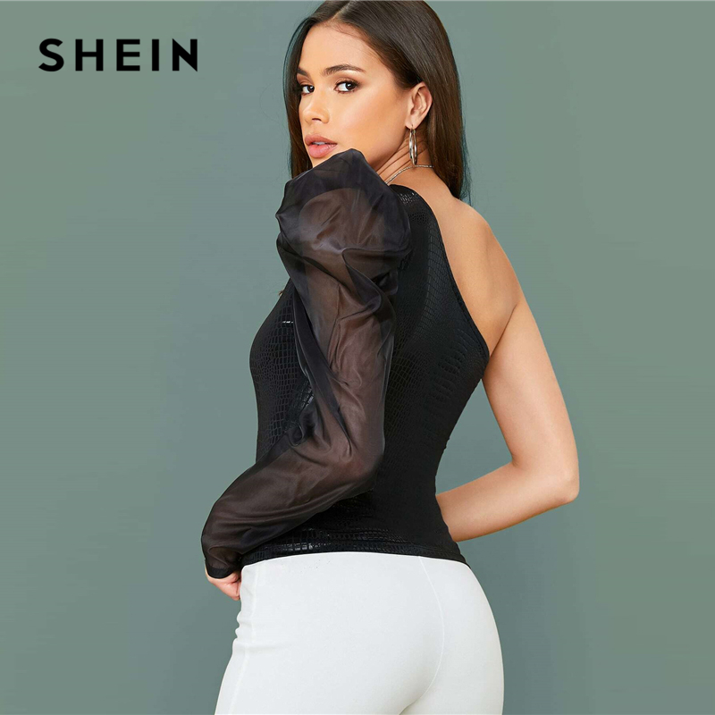 SHEIN One Shoulder Leg-Of-Mutton Sleeve Crocodile Embossed Sexy Top Women 2020 Spring Contrast Mesh Fitted Ladies Glamorous Tops 2