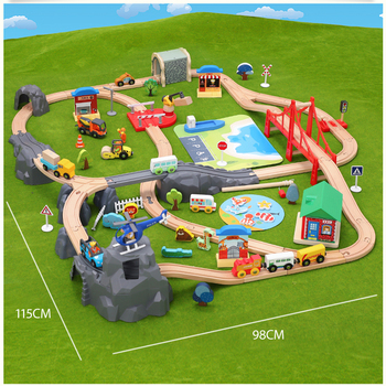 Construction site dock zoo rail train set children educational rail car toy compatible with wooden train track and electric car
