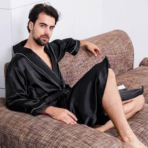 Robe Nightgown Clothing Kimono Long-Sleeve Designer Summer Satin Oversized Silk Plus