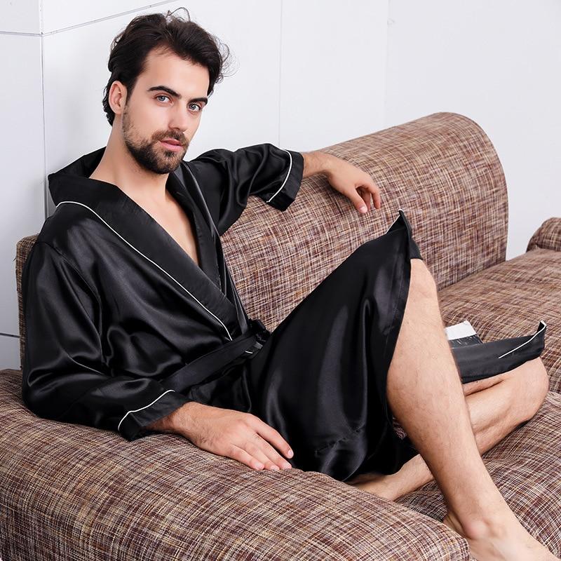 Luxury Designer Men's Silk Kimono Robe Plus 5XL Long Sleeve Sleepwear Bathrobe Oversized Satin Nightgown Summer Home Clothing