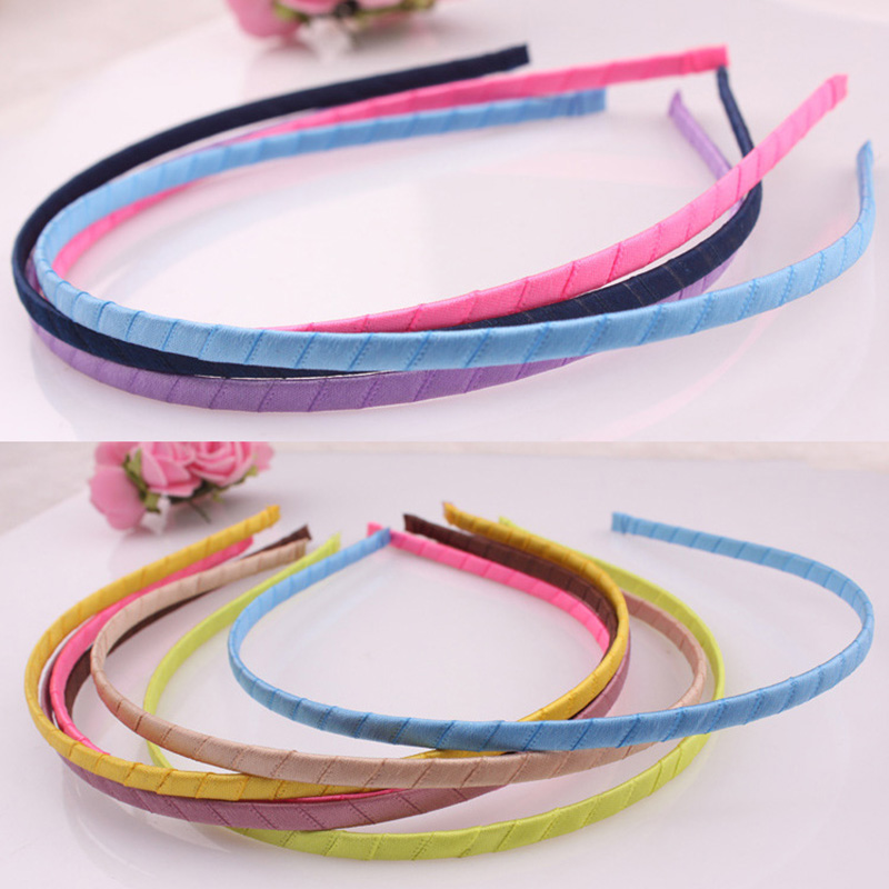 5mm Colored Satin Covered Resin Hairbands For Children Solid Satin Girls Hair Band DIY Headband Satin Head Hoop Hair Accessories