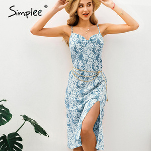 Image 5 - Simplee Sexy spaghetti strap women dress Elegant v neck floral print high split female sundress Summer beach ladies midi dresses