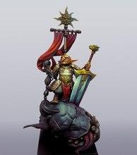 Unassambled 1/32 54mm starożytny wojownik stojak z flagą żywica rysunek miniaturowy model zestawy niepomalowane