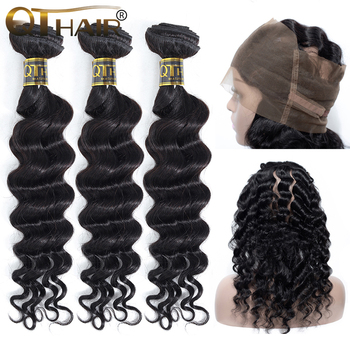 QT Hair Loose Deep Wave With 360 Lace Closure Human Hair Weave 3 Bundles With 360 Lace Frontal Non-remy Peruvian Hair Bunldes image