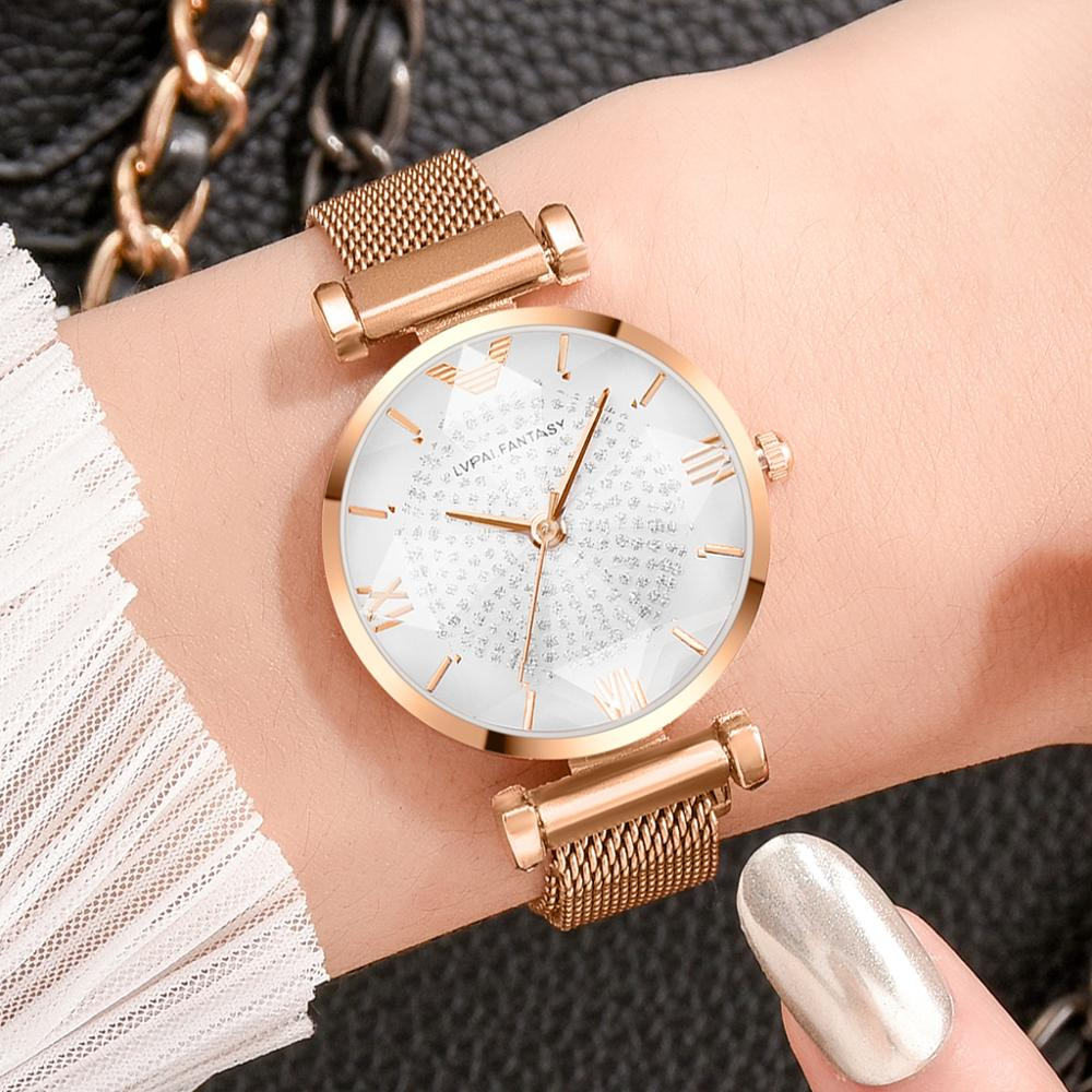 New Women Watches Ladies Rhinestone Rose Gold Magnetic Watch Geometric Surface Roman Numerals Quartz Wristwatches Dropshipping