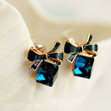 Dominated New Personality Originality Simplicity Earrings royal blue Sweet Fashionable Butterfly Bow Crystal Lady Stud Earrings(China)