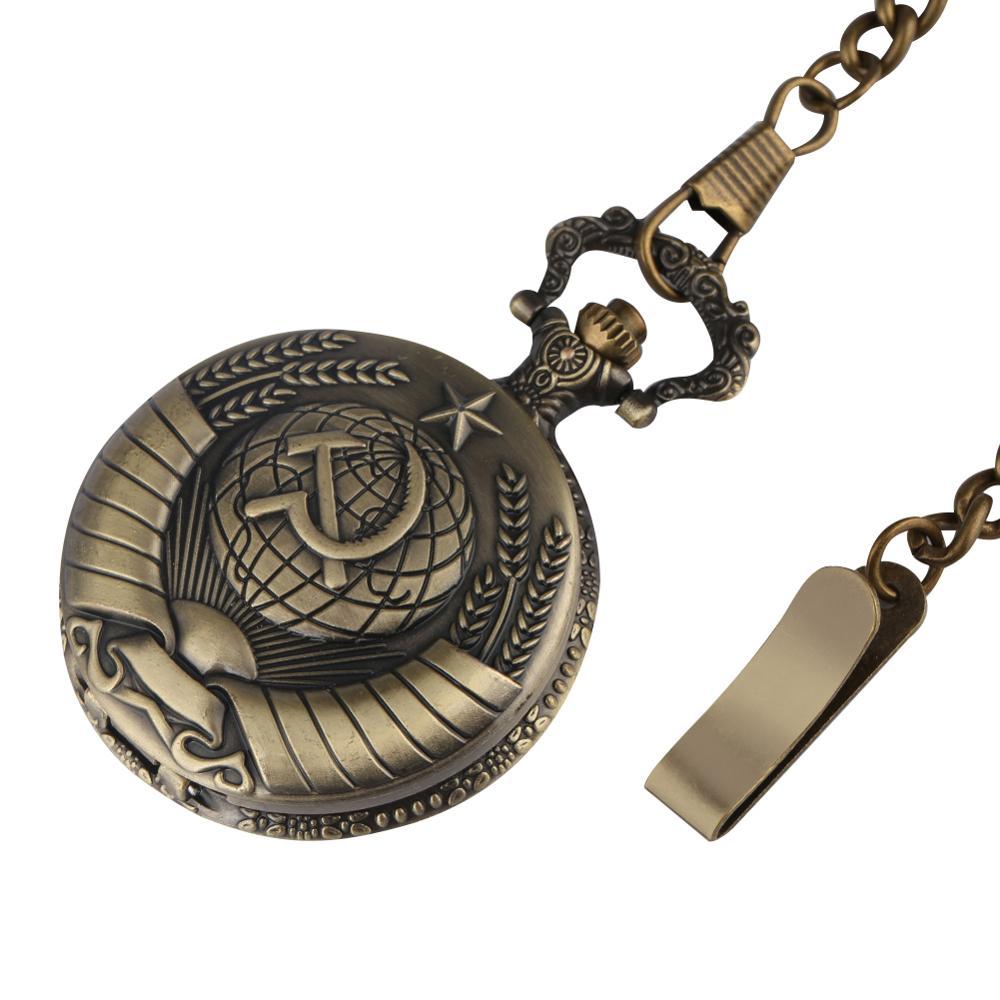 Купить с кэшбэком Reloj Mujer Antique Soviet Sickle Hammer Style Pocket Watch Men Fob Watches With Necklace Chain Xmas Gift Women Clock cccp