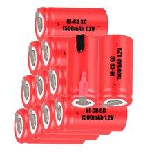 12 шт SC 1500mah 1,2 v батарея NICD аккумуляторы для makita bosch B& D Hitachi metabo dewalt для электрической отвертки