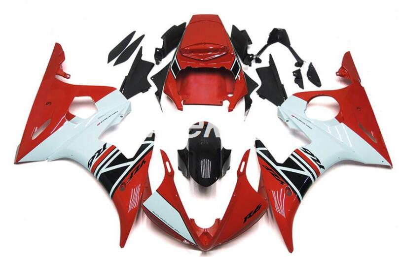4 Gifts New ABS fairings Kits Fit for Yamaha YZF R6 2003 2004 2005 fairing set R6 03 04 05 Nice Red white glossy|Full Fairing Kits| |  - title=