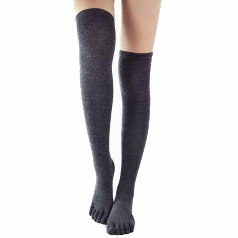Five Finger Knee Socks Women Cotton Thigh High Over The Knee Stockings For Ladies Girls 2019 Warm Long Stocking Sexy Medias
