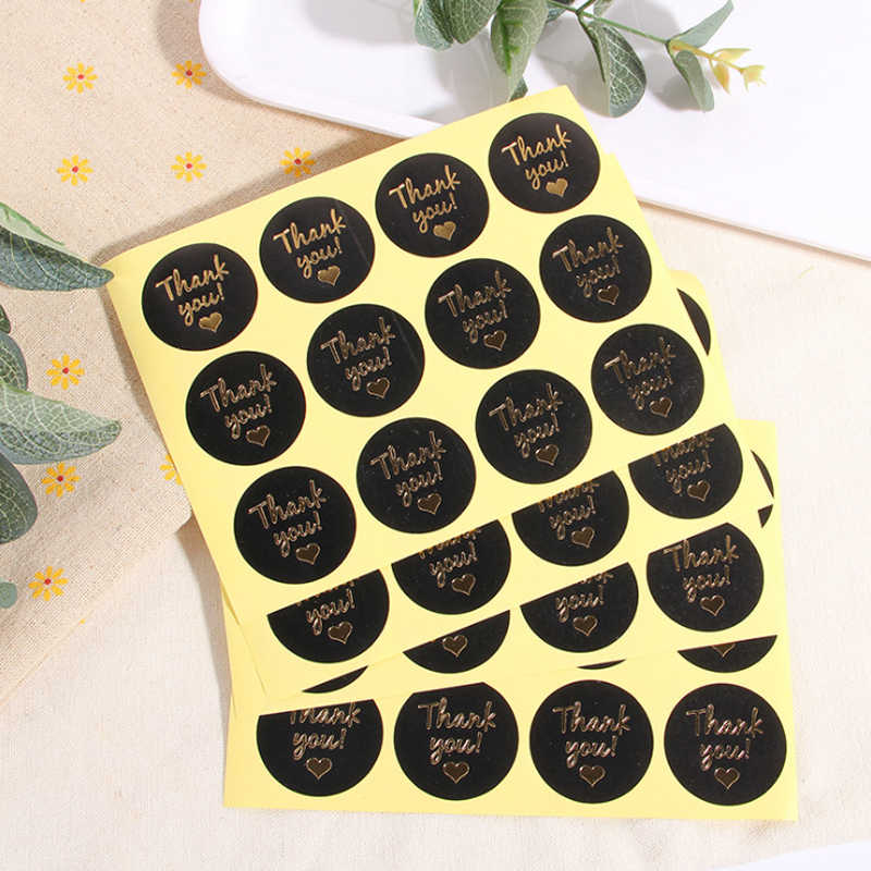 120pcs/lot Thank You Round Black Gold Hand Made Sealing Sticker DIY Decorative Sealing Sticker Gifts Package Label