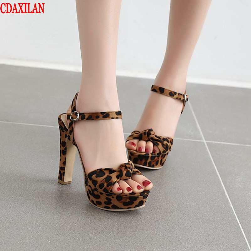CDAXIALAN new to super high sandals women faux suede fabric buckle strap peep toe platform square heels sandal party shoe summer