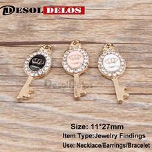 10pcs/lot Crown Key Rhinestone Enamel Charms Alloy Oil drop Pendant fit for bracelet DIY Fashion Jewelry Accessories 2019