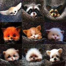 Jiwuo Handmade Cartoon Fox Puppy Cat Dog Toy Doll Wool Felt Needle Poked Material Package Kitting DIY Cute Wool Felting Animal